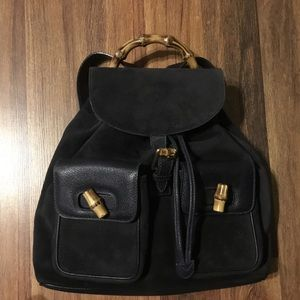 Gucci suede leather black bamboo backpack